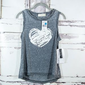 NWT! Almost Famous SMALL Grey White Heart Tank